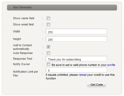 iSMS Subscription Form Generator