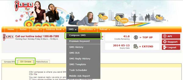 Bulk SMS End User Guide CSV Compose SMS