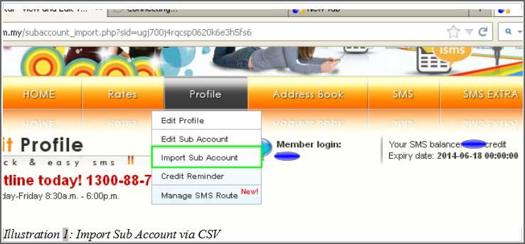 Import Sub Account via Microsoft Excel