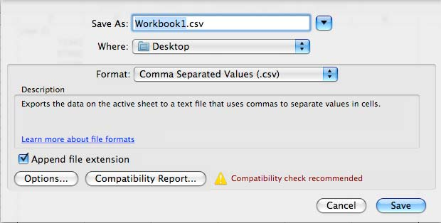 Export Microsoft Excel (2008) to CSV in Mac OS